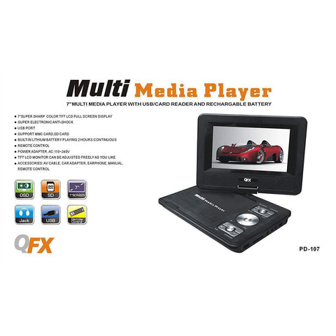 "Wholesale-QFX PD107 7"" Portable DVD Player-DVD Player-QFX-PD107-Electro Vision Inc"