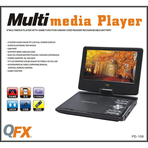 "Wholesale-QFX PD109 9"" Portable DVD Player-DVD Player-QFX-PD109-Electro Vision Inc"