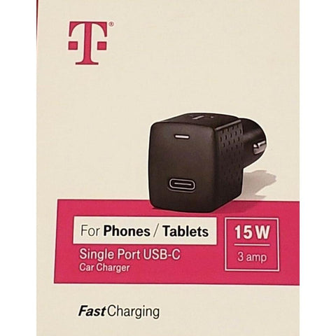 Wholesale-T-Mobile Fast Charging 15W 3amp Single Port USB-C Car Charger-Car Adaptor-Tmo-CarCharger-USBC-15w-Electro Vision Inc