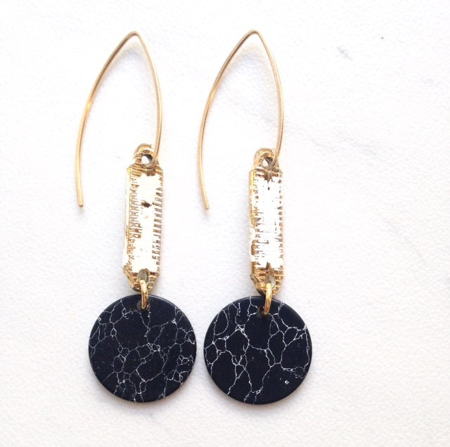 celestial danglers, howlite earrings, circular black earrings