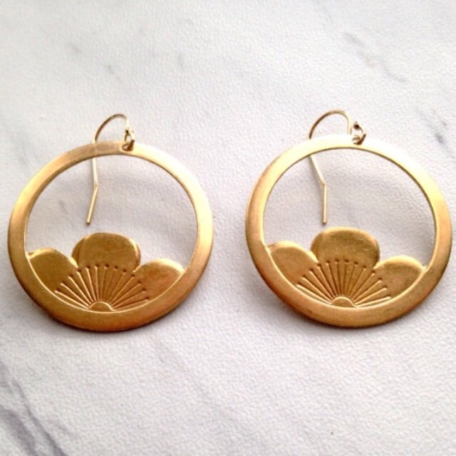 Vintage Brass Lotus Earrings.