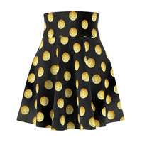 Pickleball Polka Dots on Black Women's Skirt