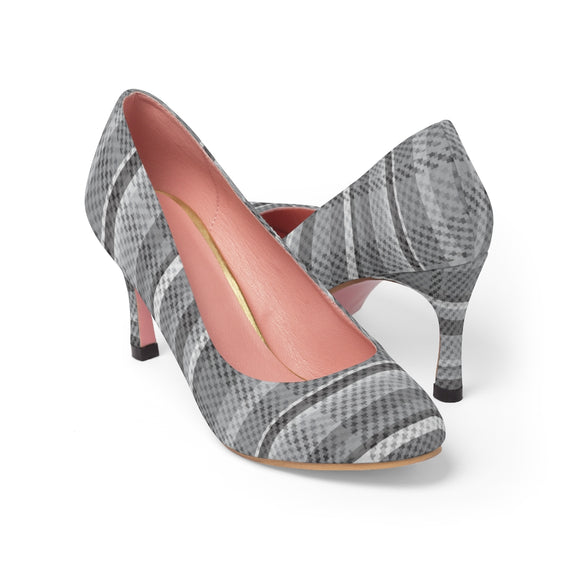 Greyscale Tartan (or Tweed) High Heels