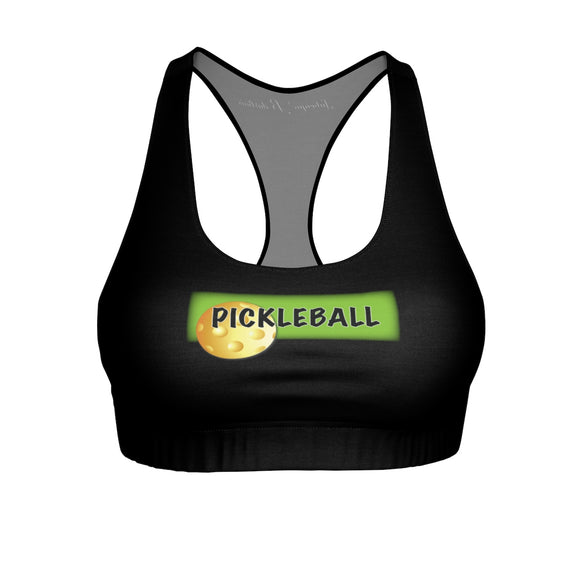Pickleball with Ball and Green Sports Bra in Black