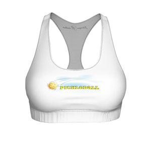 Pickleball and Clouds Sports Bra