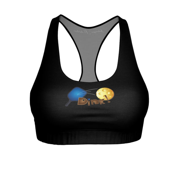 Dink! with Heart Pickleball Sports Bra in Black