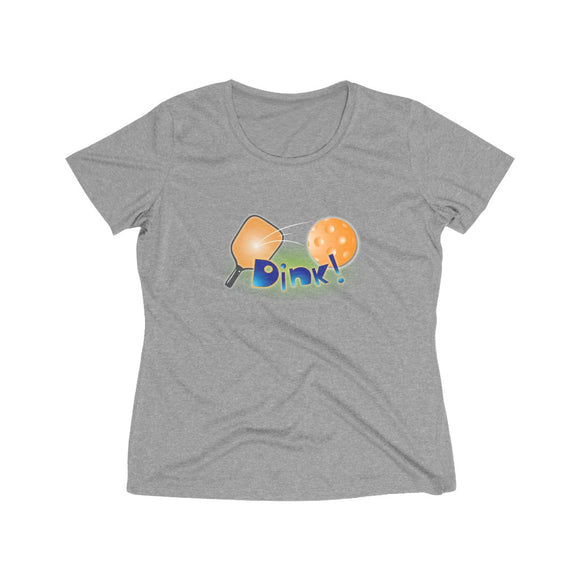 Orange and Blue Dink! Women's Heather Wicking PickleBall Tee