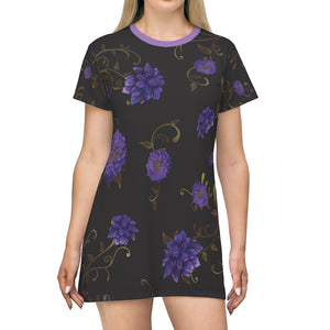 Regal Dahlia T-Shirt Dress