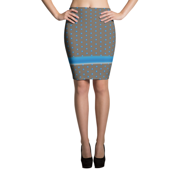 Polka Sphere and Stripe Pencil Skirt