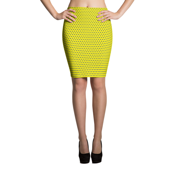 Polka Spheres in Blue on Yellow Pencil Skirt