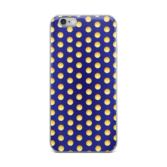 Pickleball Polka in yellow on blue iPhone Case