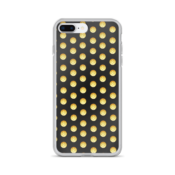 Pickleball Polka in yellow on black iPhone Case