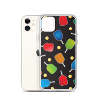 PickleBall paddles and balls on black iPhone Case