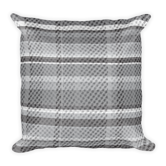 The Tartan! Grey and Black, Woven Look, Plaid Square Pillow