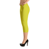 Polka Spheres in Blue on Yellow Capri Leggings