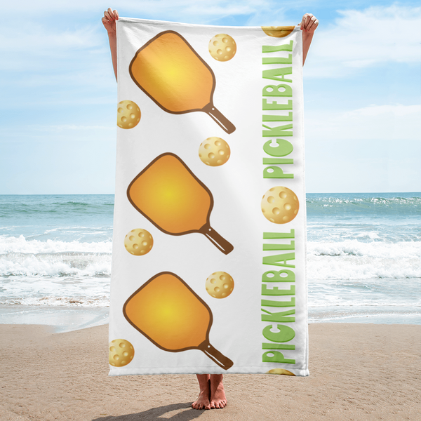 Pickleball Patterned Towel in Orange and Green