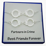 Partners In Crime Handcuffs BFF Best Friend Handcuff Necklaces Gold Filled - DKGifts.com