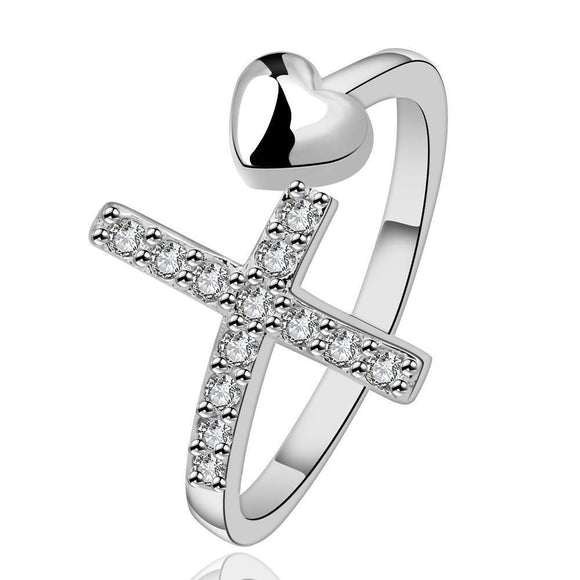 Adjustable Cross and Heart Ring Statement Ring High Quality Silver **US Selller - DKGifts.com