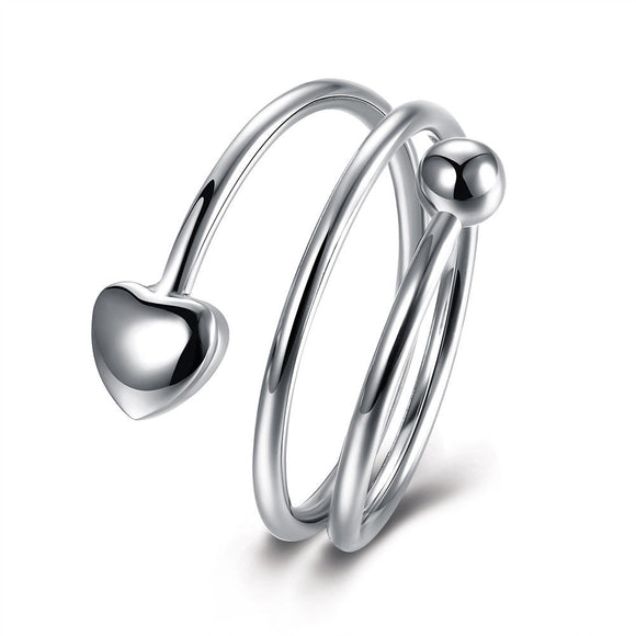 Heart Ring Statement Ring Heart and Ball Ring High Quality Silver **USA Seller - DKGifts.com