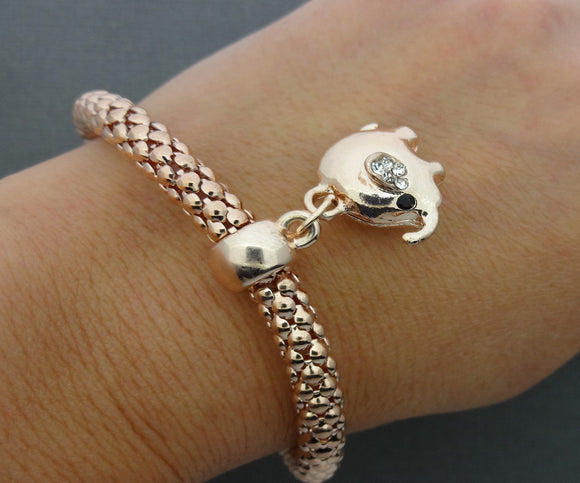 Copper Lucky Elephant Bracelet Rhinestone Elephant Bracelet Bangle Jewelry Set - DKGifts.com