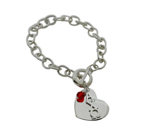 Alpha Chi Omega Sorority Bracelet with Heart and Swarovski Crystal - DKGifts.com