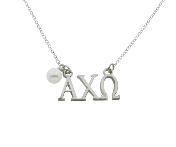 Alpha Chi Omega Floating Sorority Lavalier Necklace with Pearl - DKGifts.com