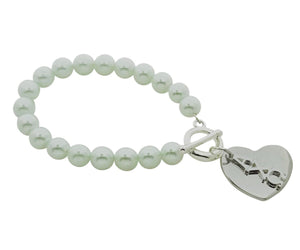 Alpha Chi Omega Pearl Sorority Bracelet with Heart on Toggle Clasp - DKGifts.com