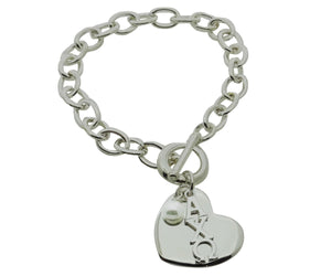 Alpha Chi Omega Sorority Bracelet with Heart and Pearl Dangle - DKGifts.com
