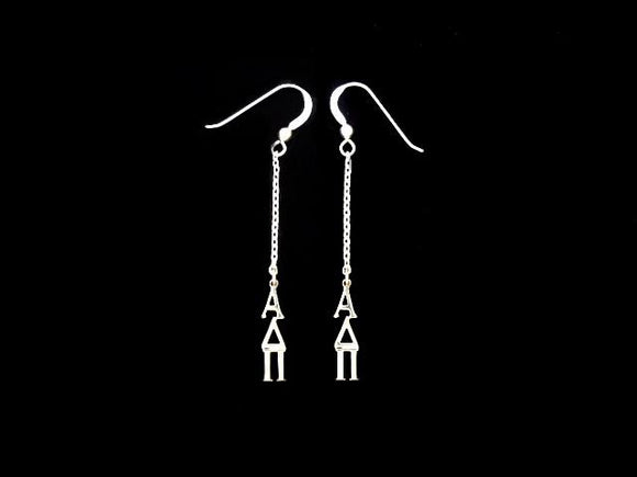 Alpha Delta Pi Dangle Greek Sorority Earring Sterling Silver - DKGifts.com