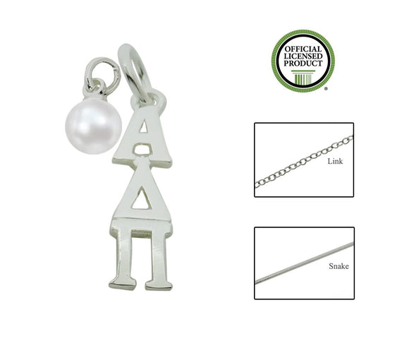 Alpha Delta Pi Sorority Lavalier Necklace with Pearl - DKGifts.com