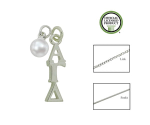Alpha Gamma Delta Sorority Lavalier Necklace with Pearl - DKGifts.com