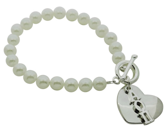Alpha Omicron Pi Pearl Sorority Bracelet with Heart on Toggle Clasp - DKGifts.com