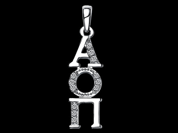 Alpha Omicron Pi Synthetic Diamond Sorority Lavalier Necklace Sterling Silver - DKGifts.com