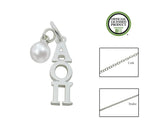 Alpha Omicron Pi Sorority Lavalier Necklace with Pearl - DKGifts.com