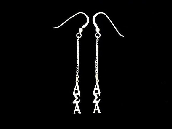 Alpha Sigma Alpha Dangle Greek Sorority Earring Sterling Silver - DKGifts.com
