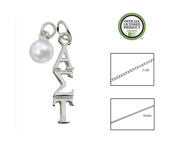 Alpha Sigma Tau Sorority Lavalier Necklace with Pearl - DKGifts.com