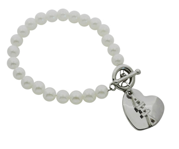 Alpha Xi Delta Pearl Sorority Bracelet with Heart on Toggle Clasp - DKGifts.com