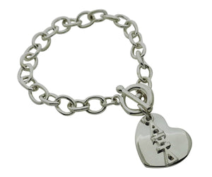 Alpha Xi Delta Rolo Sorority Bracelet with Heart on Toggle Clasp - DKGifts.com