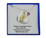 Personalized Big Sis Necklace, Two Tone Hand Stamped Big Sister Necklace - DKGifts.com