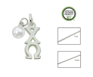Chi Omega Sorority Lavalier Necklace with Pearl - DKGifts.com