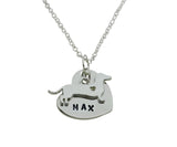 Personalized Dachshund Dog Necklace, Hand Stamped Personalized Heart Pet Necklace - DKGifts.com