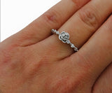 Dainty Rose Ring Stackable Dainty Ring Thin Dainty Rose Ring - DKGifts.com