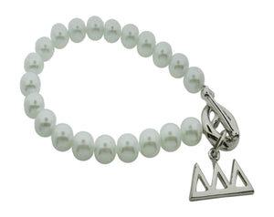 Tri Delta Delta Delta Pearl Sorority Bracelet with Toggle Clasp - DKGifts.com