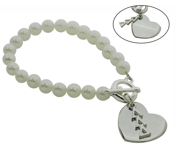 Tri Delta Delta Delta Pearl Sorority Bracelet with Heart on Toggle Clasp - DKGifts.com