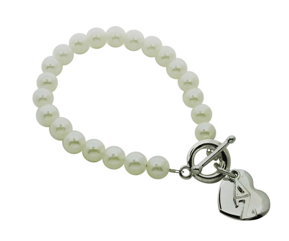 Delta Zeta Pearl Sorority Bracelet with Heart on Toggle Clasp - DKGifts.com