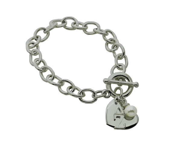 Delta Zeta Sorority Bracelet with Heart and Pearl Dangle - DKGifts.com