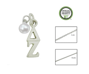 Delta Zeta Sorority Lavalier Necklace with Pearl - DKGifts.com