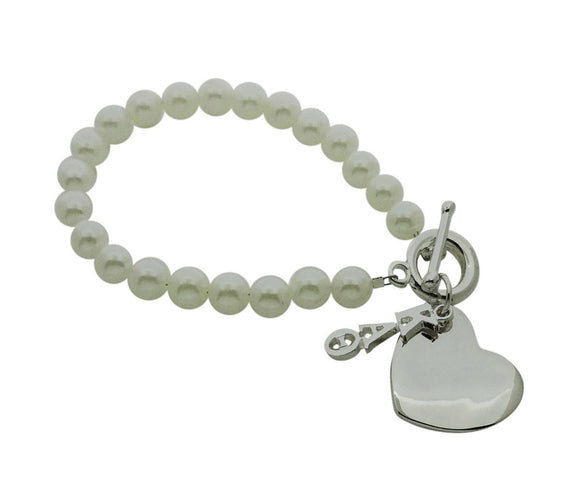 Kappa Alpha Theta Pearl Sorority Bracelet with Heart on Toggle Clasp - DKGifts.com