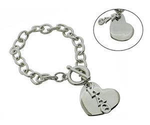 Kappa Alpha Theta Rolo Sorority Bracelet with Heart on Toggle Clasp - DKGifts.com