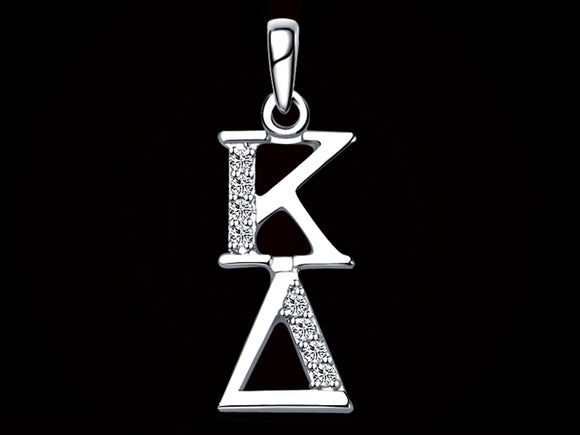 Kappa Delta Synthetic Diamond Sorority Lavalier Necklace Sterling Silver - DKGifts.com